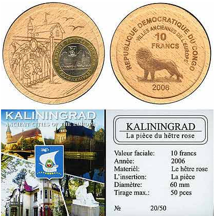 деревянная монета, 10 франков, Конго.